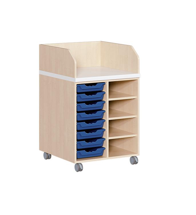 wickelkommode mit 8 ergotrayboxen und regal fahrbar. Black Bedroom Furniture Sets. Home Design Ideas